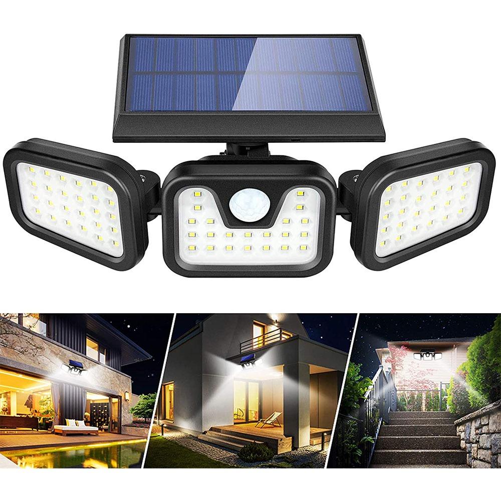 axime-Boomersun Lampes solaires d'extérieur-3 têtes réglables-74 LED-2400 mAh-Avec détecteur de mouvement-Lampes solaires IP65-Étanche à 270 °-Applique murale pour extérieur et jardin